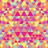 Geometric seamless pattern with colorful triangles. Pink, yellow and purple vector illustration