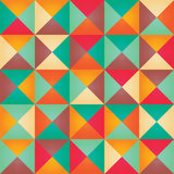 Geometric seamless pattern with colorful triangles in retro desi Stock Images