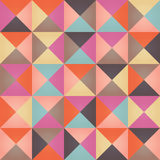 Geometric seamless pattern with colorful triangles in retro design Stock Image