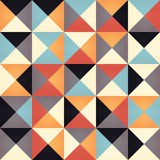 Geometric seamless pattern with colorful triangles in retro  Royalty Free Stock Images
