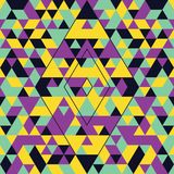 Geometric seamless pattern with colorful triangles. Turquoise, yellow and purple stock images