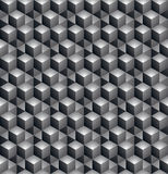 Geometric seamless pattern, endless black and white vector regul. Ar background. Abstract covering with 3d cubes and squares stock illustration