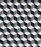 Geometric seamless pattern, endless black and white vector regul. Ar background. Abstract covering with 3d cubes and squares royalty free illustration
