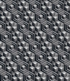 Geometric seamless pattern, endless black and white vector regul. Ar background. Abstract covering with 3d cubes and squares vector illustration