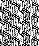 Geometric seamless pattern, endless black and white vector regul. Ar background. Abstract covering with 3d superimpose figures Stock Photos
