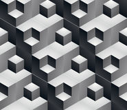 Geometric seamless pattern, endless black and white vector. Regular background. Abstract covering with 3d cubes and squares royalty free illustration