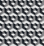 Geometric seamless pattern, endless. Black and white vector regular background. Abstract covering with 3d cubes and squares royalty free illustration