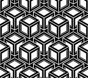 Geometric seamless pattern, endless black and white vector. Regular background. Abstract covering with 3d superimpose figures Stock Photos