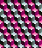 Geometric seamless pattern, endless colorful vector regular back. Ground. Abstract covering with 3d cubes and squares Stock Image