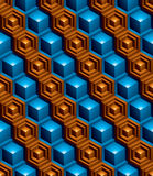 Geometric seamless pattern, endless colorful vector regular back. Ground. Abstract covering with 3d cubes and squares Royalty Free Stock Photography