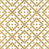 Geometric seamless pattern of gold diagonal lines and circle. Abstract background of golden shiny stripes and points, hand painted vector for invitation, card Stock Photo