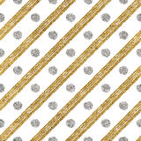 Geometric seamless pattern of golden glitter and silver diagonal strokes  circle Stock Images