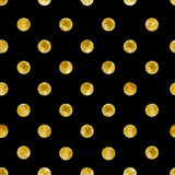 Geometric Seamless pattern of golden sequins. Gold spangle background. Vector illustration Stock Images