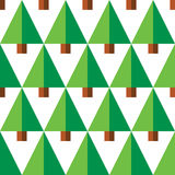 Geometric seamless pattern with green trees on white background Stock Images