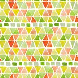 Geometric seamless pattern with hand drawn watercolor squares and triangles. Modern colorful mosaic abstract background with trian. Gles, rhombus, squares vector illustration