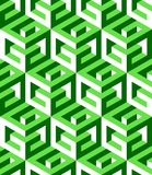 Geometric seamless pattern. Letters G pattern. Construction pattern. Imitation 3D, white, dark-green and green faces. Light and shadow Royalty Free Stock Photos
