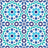 Geometric seamless pattern, Moroccan tiles design, seamless blue and turquoise tile background Royalty Free Stock Image