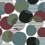 Geometric seamless pattern with multi-colored circles and stripes. Vector. Geometric seamless pattern with multi-colored circles and stripes Stock Illustration