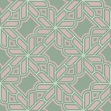 Geometric seamless pattern. Olive green background with pale pink elements. For wallpapers, textile and fabrics Stock Images
