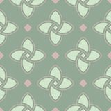 Geometric seamless pattern. Olive green background with pale pink elements. For wallpapers, textile and fabrics Royalty Free Stock Images