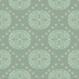 Geometric seamless pattern. Olive green background with pale pink elements. For wallpapers, textile and fabrics Royalty Free Stock Photo
