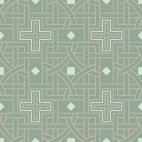 Geometric seamless pattern. Olive green background with pale pink elements. For wallpapers, textile and fabrics Stock Photography