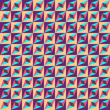 Geometric seamless pattern, optical illusion, vector background. Ornament from purple, yellow, blue and pink squares, triangles an Stock Photo
