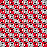Geometric seamless pattern, optical illusion, vector background. Ornament from red, gray, white and black squares, triangles and l Stock Images