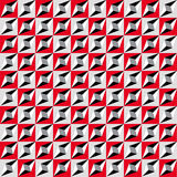 Geometric seamless pattern, optical illusion, vector background. Ornament from red, gray, white and black squares, triangles and l Stock Photos