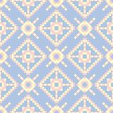 Geometric seamless pattern. Pale blue background with beige and pink elements. For wallpapers, textile and fabrics Stock Photography