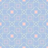 Geometric seamless pattern. Pale blue background with beige and pink elements. For wallpapers, textile and fabrics Royalty Free Stock Photo