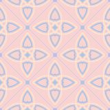 Geometric seamless pattern. Pale pink background with blue and beige elements. For wallpapers, textile and fabrics Royalty Free Stock Photography