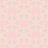 Geometric seamless pattern. Pale pink background with blue and beige elements. For wallpapers, textile and fabrics Stock Image