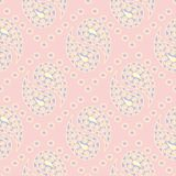 Geometric seamless pattern. Pale pink background with blue and beige elements. For wallpapers, textile and fabrics royalty free illustration