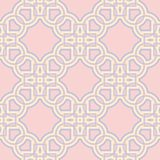 Geometric seamless pattern. Pale pink background with blue and beige elements. For wallpapers, textile and fabrics Stock Photos