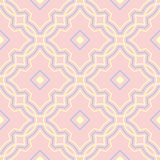 Geometric seamless pattern. Pale pink background with blue and beige elements. For wallpapers, textile and fabrics stock illustration