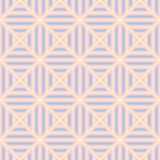 Geometric seamless pattern. Pale pink background with blue and beige elements. For wallpapers, textile and fabrics Royalty Free Stock Images