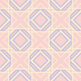 Geometric seamless pattern. Pale pink background with blue and beige elements. For wallpapers, textile and fabrics Royalty Free Stock Image