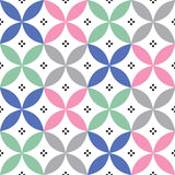 Geometric seamless pattern in pastel colours - inspired by Spanish and Portuguese tiles design. Abstract background - round shapes in pink, grey, navy blue and stock illustration