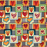 Geometric seamless pattern in patchwork style. Stock Photo