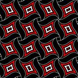 Geometric seamless pattern. Red and white elements on black background. For wallpapers, textile and fabrics Royalty Free Stock Image