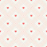 Geometric seamless pattern with rhombus and hearts Stock Images