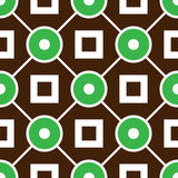 Geometric seamless pattern with rings and squares. Seamless green circle and brown square pattern. Abstract background. Textile geometric pattern Royalty Free Stock Image