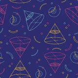 Geometric seamless pattern, School patterns Motives of geometry and algebra. Memphis design 80s 90s. Vector illustration. Geometric seamless pattern, School Royalty Free Stock Images