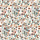 Geometric seamless pattern. The squares of different sizes and colors arranged on a white background. Stock Photography