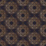 Geometric seamless pattern with squares drawn with golden contour lines on black background. Abstract backdrop. Vector. Illustration in elegant art deco style Royalty Free Stock Photos