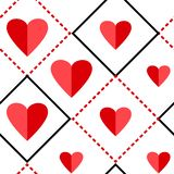 Geometric seamless pattern with squares and red hearts. Vector illustration vector illustration