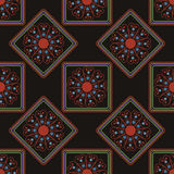 Geometric seamless pattern, squares and rhombus on a black background Stock Image