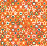 Geometric seamless pattern. The stars of different sizes and different colors. The elements are arranged on orange background Royalty Free Illustration