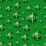 Geometric seamless pattern to world football day. With the balls and fields on the green background. Modern vector illustration Royalty Free Stock Photo